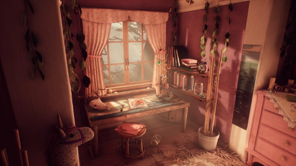 A view of the bedroom in What Remains of Edith Finch.