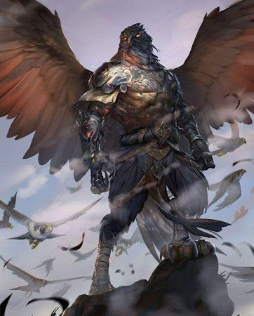Aarakocra fighter wearing medium armor surrounded by falcons.