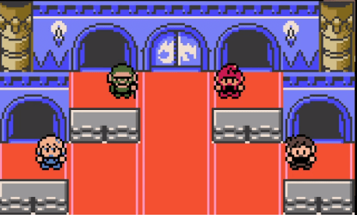 Pokemon Crystal Clear Elite 4 trainers in the final room.