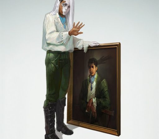 A Changling rogue taking the form of a man in a painting.