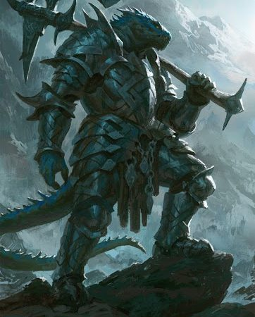 Heavily armored black dragonborn fighter weilding a battle axe.