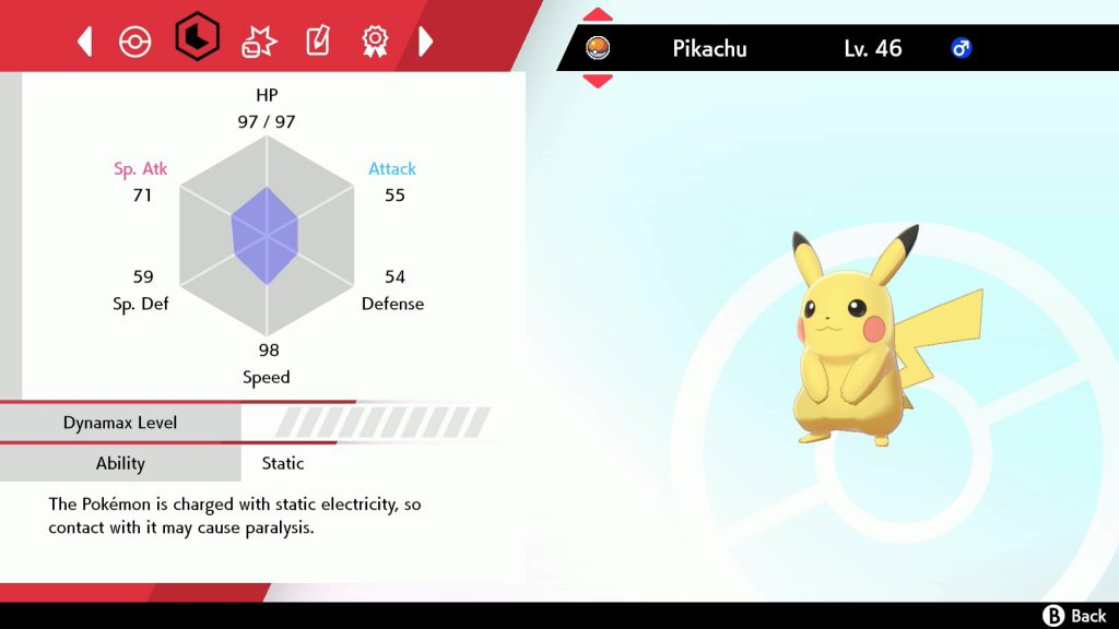 Pokemon Sword and Shield's Pikachu's stats and information.