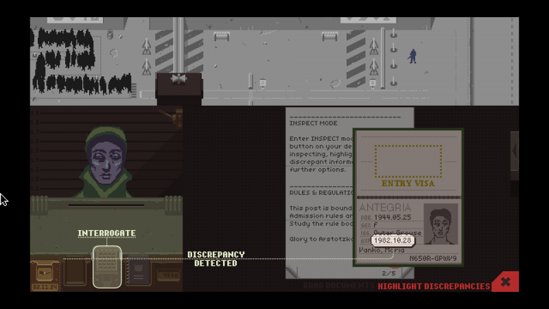 Screenshot of Papers, Please gameplay.