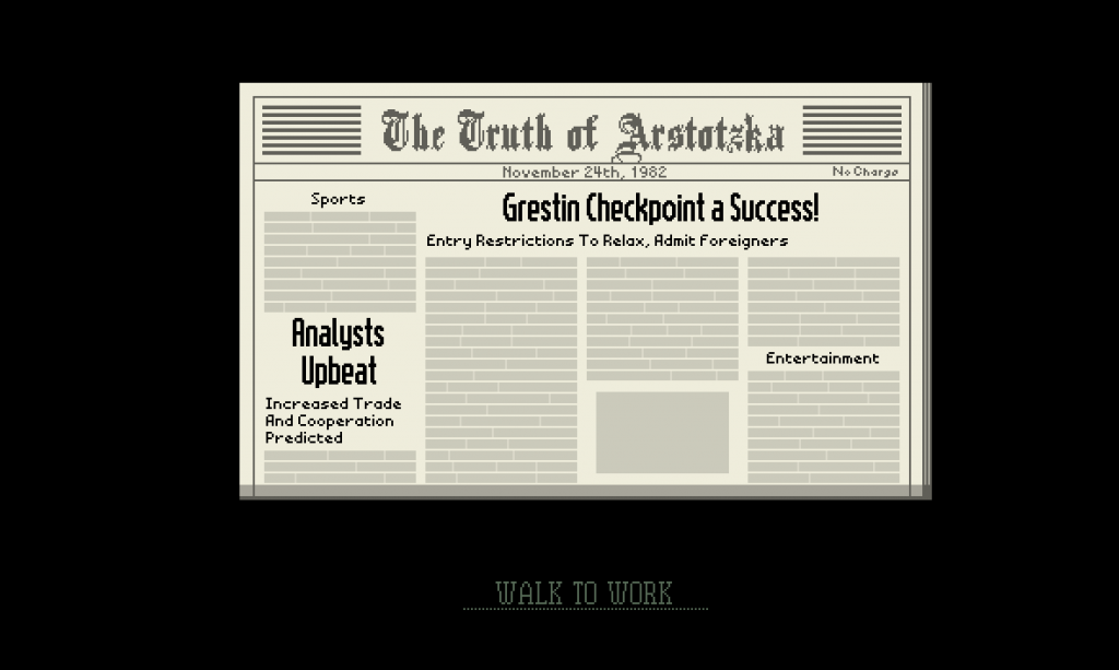 Newspaper article as seen in Papers, Please the video game.