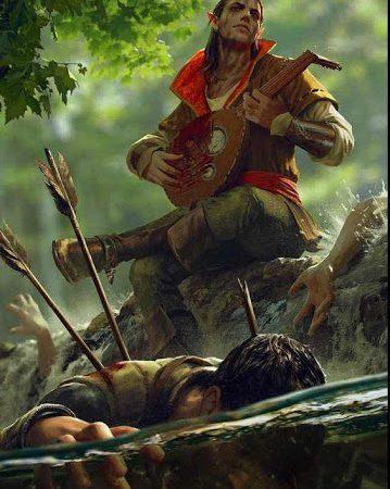 Half elf Bard standing over a fallen foe in D&D 5e.