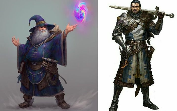 A spellcaster standing next to a martial fighter in 5th edition Dungeons and Dragons.