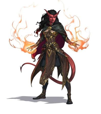 a D&D fifth edition tiefling wizard casting burning hands.