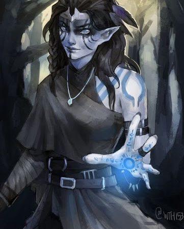 A dark elf sorcerer casting hold monster in D&D 5e.