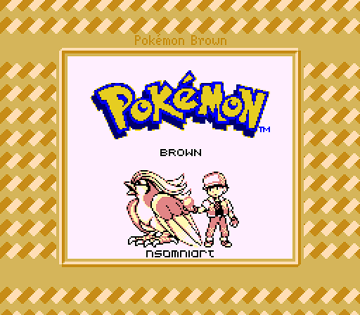 Pokemon Brown logo with a Pokemon trainer and his Pidgeot.